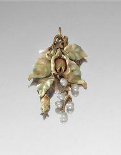 GOLD, VITRUM PASTAE, ENAMEL, PEARL AND DIAMOND PENDANT -  1900S. | Sotheby's