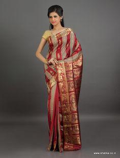 Chandra Bhaga Stripe #Patterned #Baluchari #SilkSaree