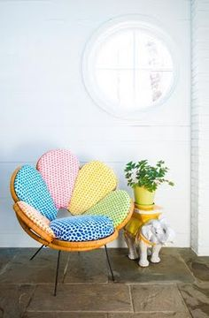Chair upholstered in (Opus Range) fabric from the new Jim Thompson family - Decor, Funky Furniture, Diy Chair, Furniture, Cool Furniture, Cool Chairs, Colorful Chairs, Vintage Style Chairs, Home Deco
