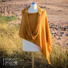 Golden sands Seashore #poncho and matching infinity #scarf designed by Elizabeth Larsen Knitwear.