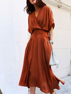 7ff77d3cc6 V neck Swing Daytime Half Sleeve Casual Midi Dress