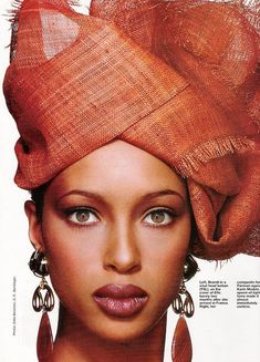 Brandi Quiñones. Orange turban ~Latest African Fashion, African Prints, African fashion styles, African clothing, Nigerian style, Ghanaian fashion, African women dresses, African Bags, African shoes, Kitenge, Gele, Nigerian fashion, Ankara, Aso okè, Kenté, brocade. ~DK