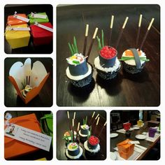 Sushi Cupcakes in coloured takeout boxes! Sushi made of shaved coconut, candy & fondant. So fun! :)