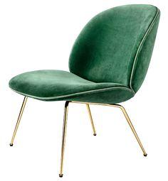 GUBI Beetle Lounge Chair Messinkinen tai musta runko, useita eri materiaali- ja värivaihtoehtoja I 72x63, korkeus 82 I Alk. € 1260