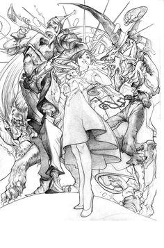 «Dorothy et la magie d'Oz». Illustration originale à l'encre de chine.