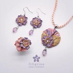 PASTEL FLOWERS set of ring, pendant & earrings. Polymer clay / handmade. Vintage wedding style. Elegant gift for her