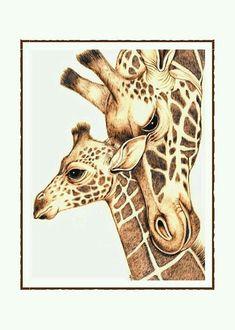 Artículos similares a Mom and Baby Giraffes Note Card Set of 10 en Etsy Giraffe Drawing, Giraffe Art, Baby Giraffe Tattoo, Giraffe Painting, Animal Paintings, Animal Drawings, Baby Animals, Cute Animals, Wild Animals