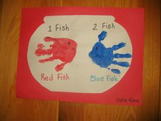 Pre-School Art - Handprint Fish in Bowl - One Fish, Two Fish, Red Fish, Blue Fish