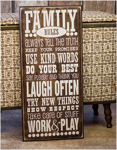 Family Rules Wooden Sign by SparrowsEdgeDesigns on Etsy
