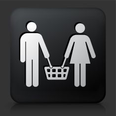 Black Square Button with Couple Shopping Icon vector art illustration