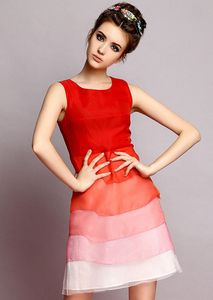 Red Sleeveless Round Neck Gradient Cute Dress shecloth