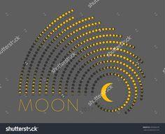 Lunar Phase Calendar For White On A Grey Background. Moon Calendar 2017 Стоковая векторная иллюстрация 493260235 : Shutterstock