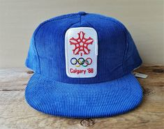 3d189915a9aa2 CALGARY  88 Winter Olympics Vintage Blue Corduroy Hat 1988 Official  Licensed Snapback Adjustable Olympic Games Baseball Cap Deadstock