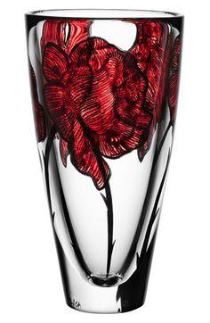 painted rose crystal vase