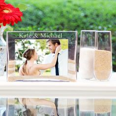 Personalized Sand Ceremony Photo Vase Unity Set. We are using sand unity how cool to do this after!!!