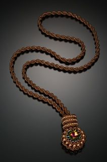 : Leslee Frumin - Teacher and Designer, Beads, Metals and Gems Same necklace as the short one pinned. This one showing how it looks longer. Seed Bead Necklace, Seed Bead Jewelry, Bead Jewellery, Jewelry Art, Beaded Jewelry, Jewelry Design, Beaded Necklaces, Seed Bead Projects, Bead Crochet