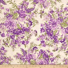 April Cornell Glorious Garden In Full Bloom Purple from @fabricdotcom  Designed by April Cornell for Free Spirit, this fabric is perfect for quilting, apparel and home decor accents. Colors include shades of green and purple on white.