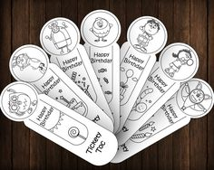 Tickety Toc Happy Birthday 7 Coloring Bookmarks DIY Party Favors Printable Instant Download Digital PDF JPEG INSTANT PRINTABLE BOOKMARKS – OUTLINE VERSION Welcome to Printables Baby! This list will give you a printable set of 7 bookmarks with...