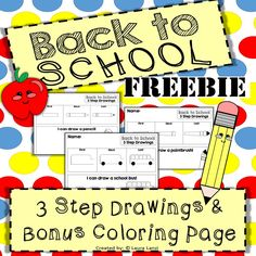 "FUN FREEBIE: These ""Back To School"" themed 3 step drawing pages teach students how to draw fun school themed pictures in three easy steps. Best Teacher, School Teacher, School Fun, Back To School, School Stuff, Special Education Classroom, Classroom Fun, Drawing School, Special Needs Students"