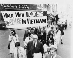 Protest Peace March Vietnam 1960s Vintage 8x10 Reprint Of Old Photo