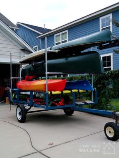 Learn how to build a kayak trailer by converting a utility trailer using Kee Klamp fittings and pipe. An affordable and sturdy Kayak Trailer DIY kit. Kayak Trailer, Trailer Diy, Trailer Plans, Trailer Build, Canoe And Kayak, Kayak Fishing, Fishing Boats, Kayak Storage Rack, Kayak Rack