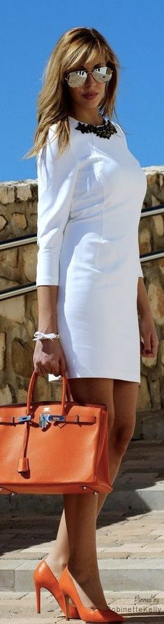 Street Style / Summer minus the necklace White Dress Outfit, Dress Outfits, Cool Outfits, Fashion Outfits, Womens Fashion, Street Style Summer, Casual Street Style, Street Chic, Coco Chanel