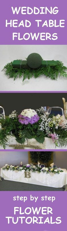 Wedding Head Table - Free Reception Flower Tutorials Learn how to make bridal bouquets, wedding corsages, groom boutonnieres, church decorations and more! Buy wholesale flowers and discount florist supplies.