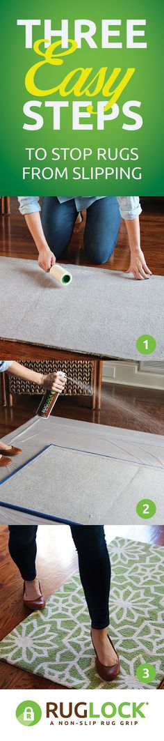 Locking your area rugs into place is as easy as 1-2-3 with RugLock!