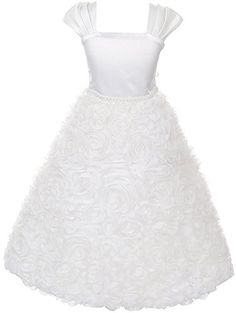 Flower Girls Dress Full Rosette First Communion Dress Wedding Ivory Girls 2-14 BNY CORNERS http://www.amazon.com/dp/B00R29VETI/ref=cm_sw_r_pi_dp_aEXUub0RT3B9S