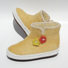 mustard felt moccasin slippers with flower bouquet, handmade in Mongolia for Satch & Sol