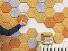"""These colorful hexagonal wall tiles are made from sound-absorbing """"wood wool"""""""