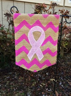 Burlap Garden Flag Breast Cancer Awareness by ModernRusticGirl, $20.00