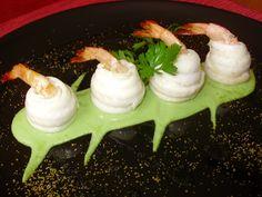 Rotolini di sogliola e gamberi su purea di piselli - ricetta inserita da Nicola Rosato