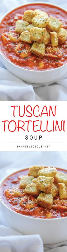 Tuscan Tortellini Soup - A quick and easy tortellini soup that's amazingly creamy and comforting - perfect for those busy weeknights! Croutons aren't really necessary. I Love Food, Good Food, Yummy Food, Soup Recipes, Cooking Recipes, Tortellini Soup, Soup And Sandwich, Italian Recipes, Carne
