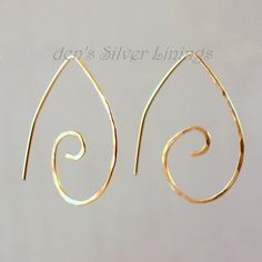 Gold Earrings Handcrafted Artisan Hammered 14 by denssilverlinings, $25.00