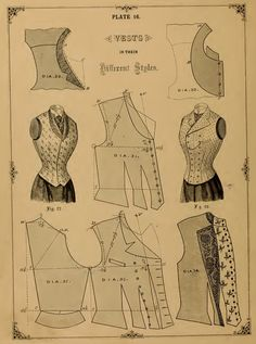 36 Victorian DRESS Outfit SEWING PATTERNS  Vests Jackets