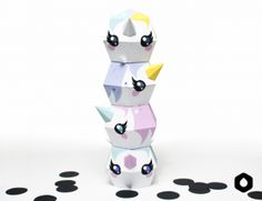 Stackable Unicorns paper toys / paper crafts - DIY + free printable