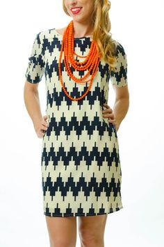 Navy Chevron Dress