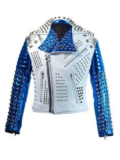 <Strong>Jacket Description</Strong><br/> <Ol> <li>Studded Jacket made with 100 % Genuine Top Quality Cowhide Leather</li><br/> <li>Long Spiked and Studded Used Each Single one is Punched with hands </li><br/> <li>Cropped, Vintage</li><br/> <li>Front back Studded</li><br/> <li>Polyester Inne... Punk Jackets, Party Jackets, Outerwear Jackets, White Jackets, Biker Style, Jacket Style, Jacket Men, Fashion Moda, Mens Fashion