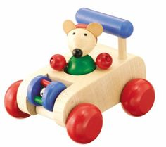There's no stopping Autopino! A removable mouse sits behind the wheel of this sturdy and brightly colored wooden car. The back axle squeaks merrily when the car rolls. Driving around with Autopino is a fun way for mobile babies and toddlers to explore their worlds.   toys4mykids.com