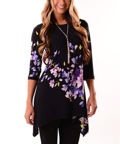 Look what I found on #zulily! Black & Purple Floral Sidetail Tunic #zulilyfinds