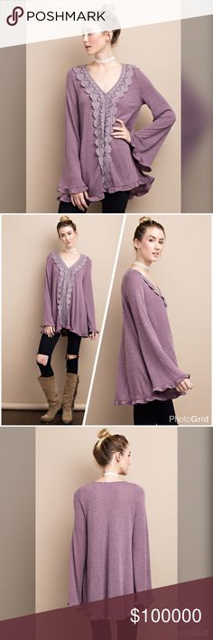 Faded plum soft hacci tunic with crochet trim LONG SLEEVE LIGHT WEIGHT  HACCI LOOSE FIT KNIT TUNIC FEATURED CROCHET TRIM DETAILING FRONT. Tops Tunics