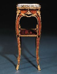 A LOUIS XV ORMOLU-MOUNTED SEVRES PORCELAIN, TULIPWOOD, AMARANTH AND END-CUT MARQUETRY TABLE A CAFE, ca 1761, by BVRB, stamped twice JME and inscribed Poirier md Rue St. Honoré à Paris, the plaque with Sèvres interlaced L's, date letter H for 1760 and painter's mark for Armand L'aîné.