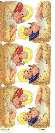 Baby Jesus in manger vintage paper scraps from England