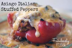 Asiago Italian Stuffed Peppers... this dish is easier than it sounds!  Double the batch and freeze some for later.  Freezer Meal instructions included!