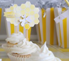 Bee Hive Cupcake Paper Craft Toppers | Kim Byers