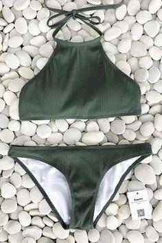 82e7c16da5 Cupshe Matcha Ice Cream Halter bikini Set Halter Bikini, Bikini Beach,  Bikini Set,