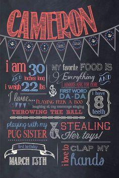 Customizable Printable First Birthday Chalkboard by designshmine, $30.00