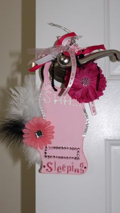 Baby girl door hanger. Just have to add picture and name