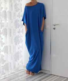 Lovely Royal Blue color , wonderful feeling , light and soft fabric .... This is your dress !  Chic and Comfortable ....  Enjoy !   This is a lovely,thin,soft,light elastic Viscose oversized plus size caftan/dress/tunic/ ready to wear !  Casual,chic and comfortable :) You may wear it as a day dress, as a prty dress with a belt on your waist , as a cover up for your swim wear or just wear it in the way your fantasy whispers you ! Wear it with flats,ballerinas,boots,high heels,trainers…